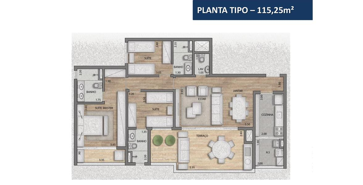 Apartamento 115 m2 privativos - 3 dorms. (3 suítes)